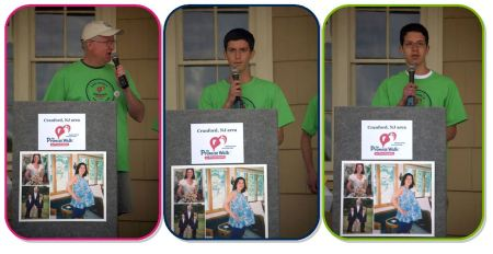 Pat, Justin and Cameron Dignan speaking at the 2014 Cranford, NJ Promise Walk.